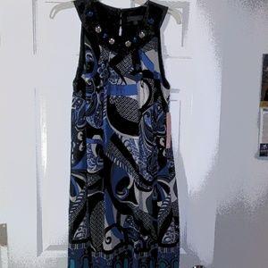 New Ladies Blue. Bejeweled Sleeves Dress Size 16W